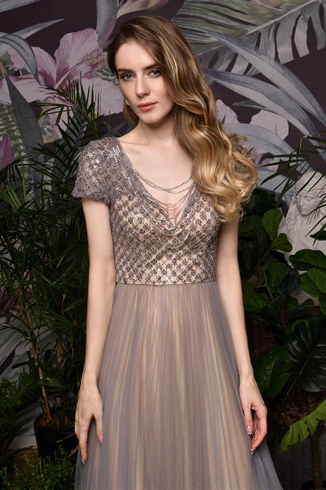 Glamorous Short Sleeve Tulle Prom Dress Long Evening Party Gowns Online_11