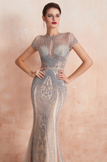 Luxurious Crystal Short Sleeve Prom Dress Long Mermaid Kehole Evening Gowns With Zipper Back_14
