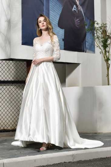 Elegant A-Line Satin Lace 3/4 Sleeves Ankle Length Wedding Dress_8