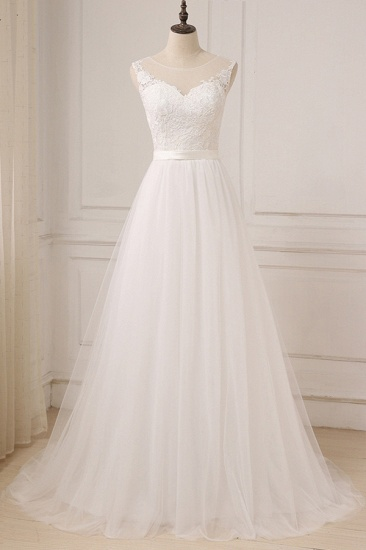 BMbridal Glamorous Tulle Sleeveless Jewel Wedding Dress White A-line Appliques Bridal Gowns On Sale_1