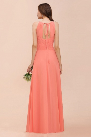 BMbridal Modest Halter Ruffle Coral Chiffon Affordable Bridesmaid Dress Online_3