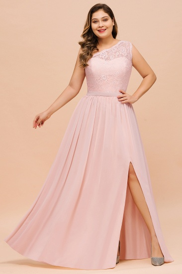 Chic One-Shoulder Pink Lace Bridesmaid Dresses with Slit_4