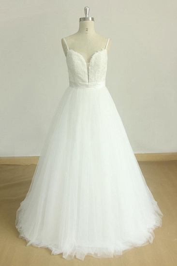Chic Spaghetti Straps V-Neck Wedding Dresses White Tulle Appliques Bridal Gowns Online_1