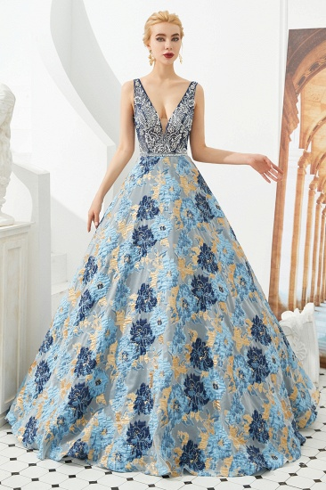 BMbridal Glamorous V-Neck Sleeveless Print Prom Dress Long Beadings Evening Gowns_1