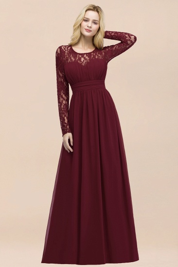 BMbridal Elegant Lace Burgundy Bridesmaid Dresses Online with Long Sleeves_56
