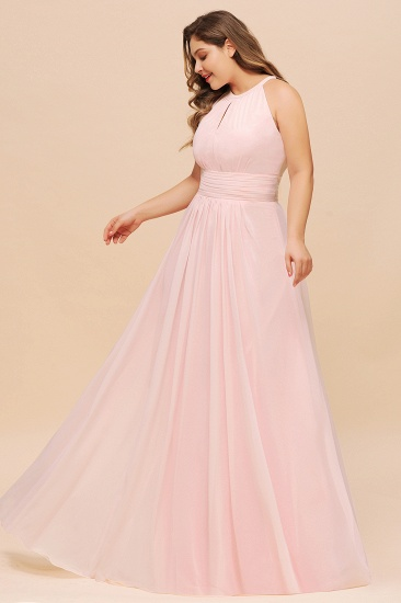BMbridal Affordable Plus Size Chiffon Round Neck Pink Bridesmaid Dress_5