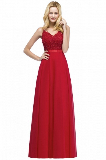 BMbridal Spaghetti Straps V-Neck Chiffon Lace Evening Dress
