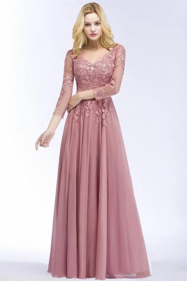 BMbridal Elegant Chiffon Lace Dusty Rose Evening Dress_6