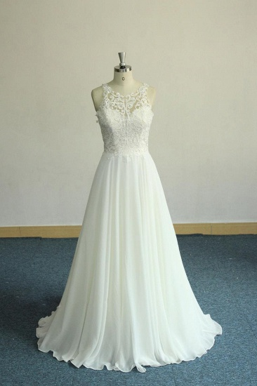 Unique White Jewel Sleeveless Wedding Dress Appliques Chiffon Bridal Gowns On Sale_2