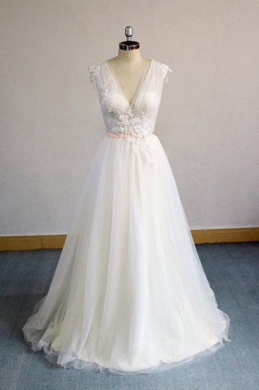 BMbridal Gorgeous V-neck Sleeveless A-line Wedding Dresses Champgne Tulle Bridal Gowns With Appliques On Sale_1