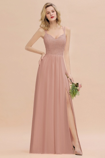 BMbridal Sexy Spaghetti-Straps Coral Lace Bridesmaid Dresses with Slit_6