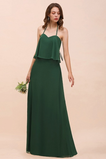 Chic Halter Sweetheart Dark Green Chiffon Bridesmaid Dress_6