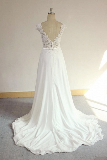 BMbridal Sexy V-neck Appliques Sleeveless Wedding Dress A-line Chiffon White Bridal Gown On Sale_3