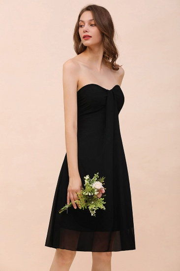 Lovely Strapless Sweetheart Ruffle Short Black Bridesmaid Dress Affordable_8