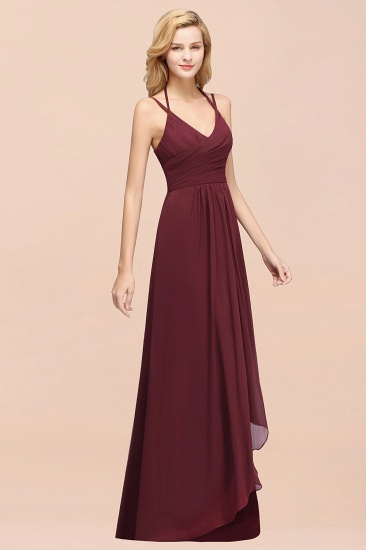 BMbridal Affordable Chiffon Burgundy Bridesmaid Dress With Spaghetti Straps_57