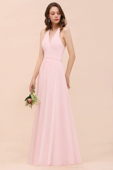 Chic V-Neck Blushing Pink Chiffon Affordable Bridesmaid Dress with Ruffle_7