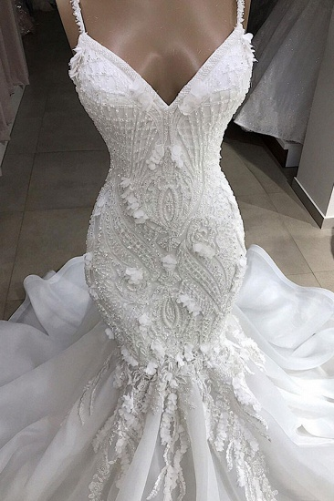 BMbridal Sexy Mermaid Spaghetti Straps Ivory Wedding Dresses With Appliques Tulle Lace Bridal Gowns On Sale_4