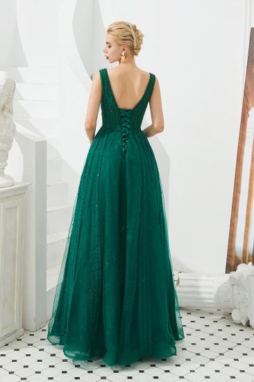 Glamorous Green V-Neck Sleeveless Prom Dress Long With Beadings Online_5