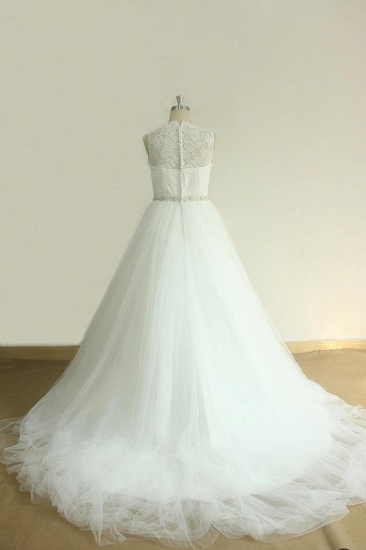 BMbridal Unique Jewel Sleeveless Lace Wedding Dresses White A-line Tulle Bridal Gowns On Sale_3