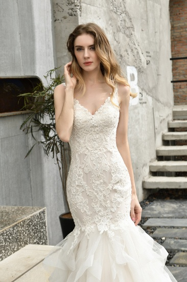 BMbridal Gorgeous Mermaid Tulle Appliques Ivory Wedding Dress_6