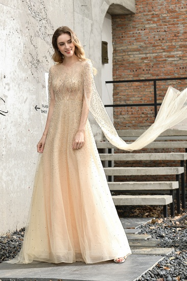 Luxurious Tulle Crystals Long Prom Dress Online With Ruffle Sleeves_9
