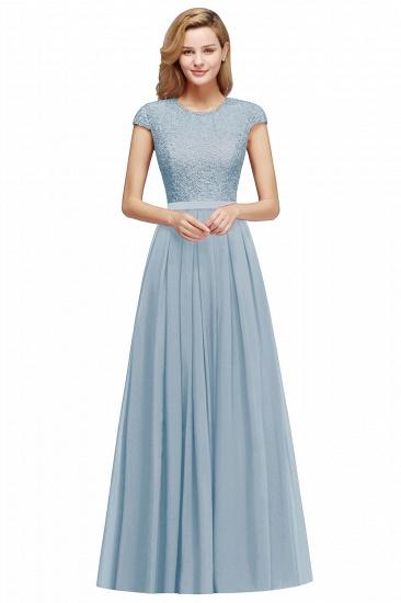BMbridal A-line Jewel Short Sleeves Chiffon Lace Bridesmaid Dress_7