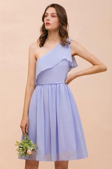 Affordable One Shoulder Ruffle Lavender Chiffon Short Bridesmaid Dress_6