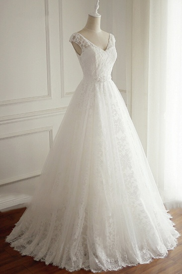BMbridal Gorgeous Lace V-neck Appliques Wedding Dress White Tulle A-line Bridal Gowns On Sale_4