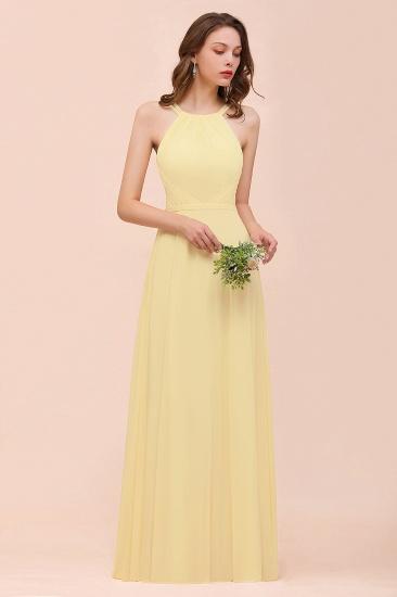 Affordable Daffodil Chiffon Sleeveless Long Bridesmaid Dress with Ruffle_5