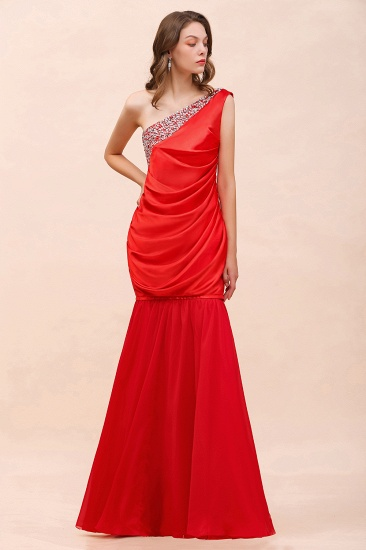BMbridal Chic One Shoulder Beading Ruffle Red Bridesmaid Dress with Detachable Skirt_3