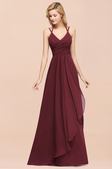 BMbridal Affordable Chiffon Burgundy Bridesmaid Dress With Spaghetti Straps_54