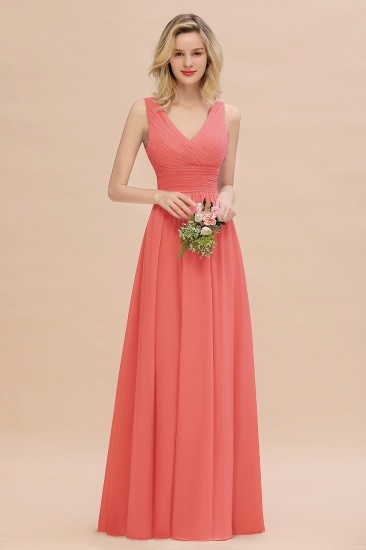 Elegant V-Neck Dusty Rose Chiffon Bridesmaid Dress with Ruffle_7