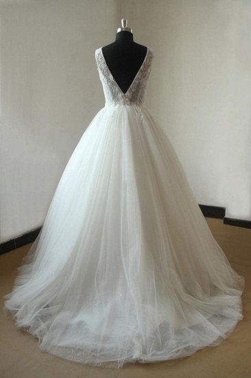 BMbridal Gorgeous V-neck Sleeveless Appliques Wedding Dress White Ball Gown Tulle Bridal Gowns On Sale_3