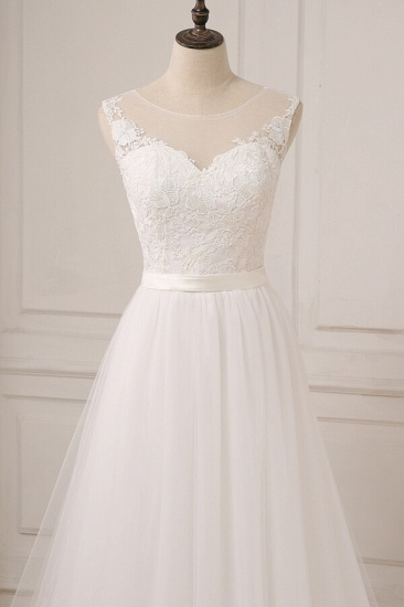 BMbridal Glamorous Tulle Sleeveless Jewel Wedding Dress White A-line Appliques Bridal Gowns On Sale_5