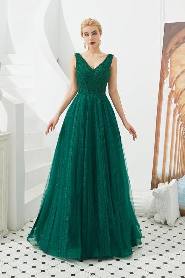 Glamorous Green V-Neck Sleeveless Prom Dress Long With Beadings Online_12