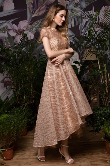 Glamorous Rose Gold Sequins Prom Dress Short Sleeve Evening Gowns Online_5