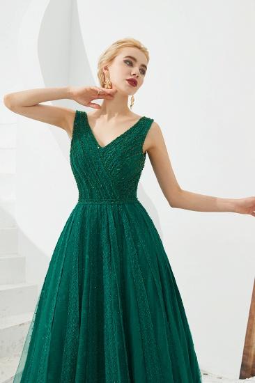 Glamorous Green V-Neck Sleeveless Prom Dress Long With Beadings Online_6