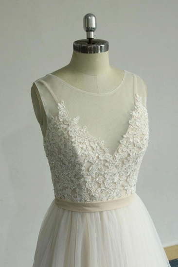 BMbridal Chic Straps Sleeveless Appliques Wedding Dress A-line Tulle White Bridal Gowns On Sale_5