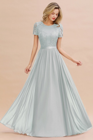 Elegant Chiffon Lace Jewel Short-Sleeves Affordable Bridesmaid Dress_38