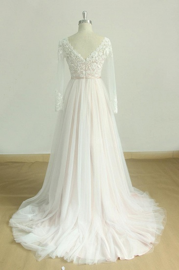 Stylish Longsleeves V-neck Tulle Wedding Dress White Appliques A-line Bridal Gowns On Sale_3
