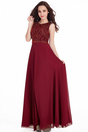 Gorgeous Sleeveless Crystal Long Prom Dress Chiffon Evening Gowns Online_3