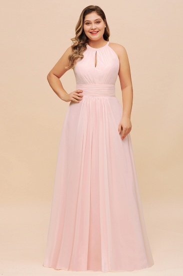 Affordable Plus Size Chiffon Round Neck Pink Bridesmaid Dress
