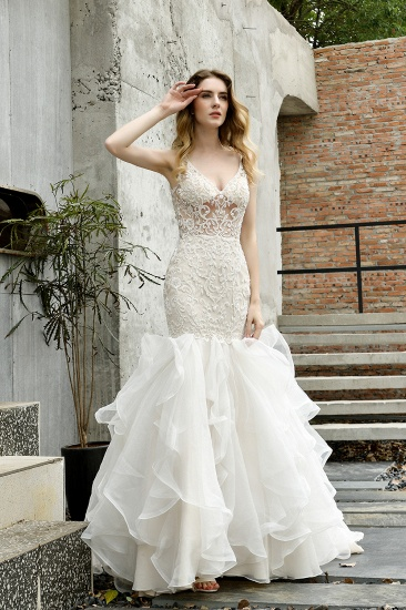 Elegant Mermaid Tulle Lace White Wedding Dresses with Appliques_10