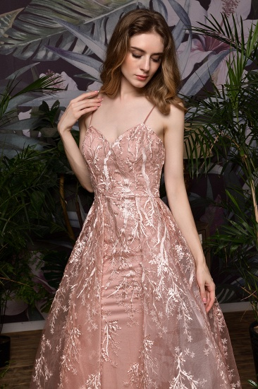 Pink Spaghetti-Straps Appliques Prom Dress Long Evening Gowns Overskirt_6