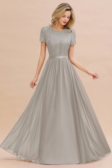 Elegant Chiffon Lace Jewel Short-Sleeves Affordable Bridesmaid Dress_30