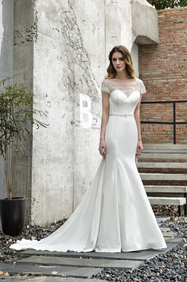 Mermaid Satin Lace Off the Shoulder Affordable Ivory Wedding Dress_9