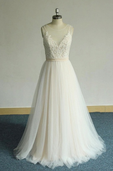 BMbridal Chic Straps Sleeveless Appliques Wedding Dress A-line Tulle White Bridal Gowns On Sale_1