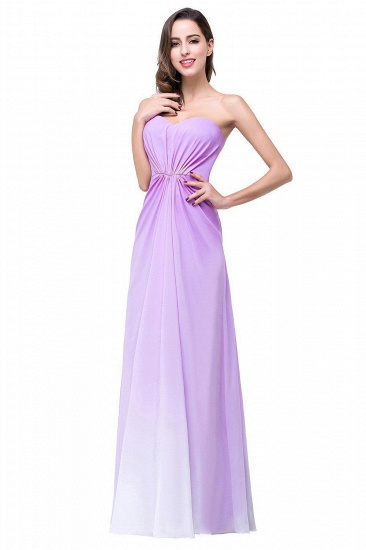 BMbridal Gorgeous A-line Strapless Lilac Chiffon Bridesmaid Dress Affordable In Stock_1
