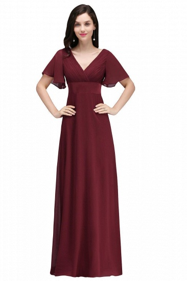 BMbridal Affordable Chiffon Burgundy Long Bridesmaid Dresses with Soft Pleats In Stock_1