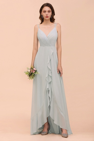 Affordable Mist V Neck Ruffle Bridesmaid Dress